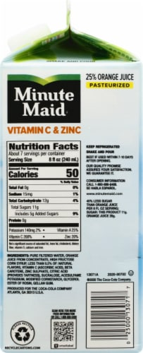 Minute Maid Vitamin C & Zinc Pulp Free Orange Juice Beverage Perspective: right