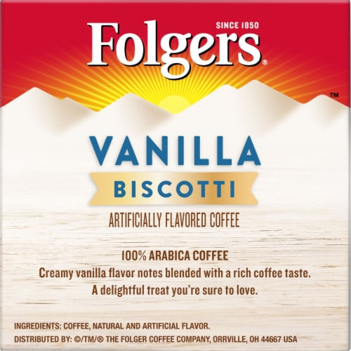 Folgers Gourmet Vanilla Biscotti Flavored Coffee K-Cup Pods Perspective: right