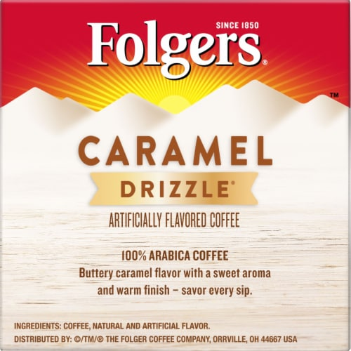 Folgers Gourmet Selections Caramel Drizzle Coffee K-Cup Pods Perspective: right