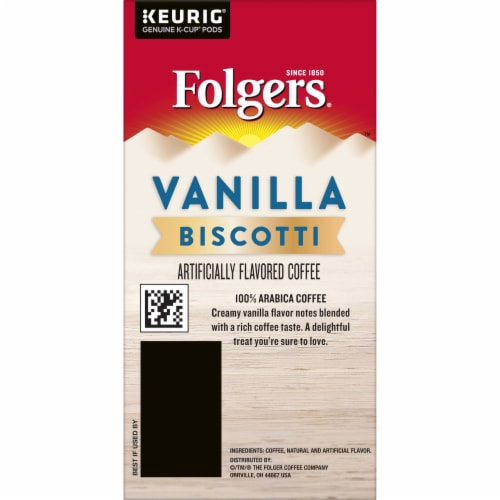 Folgers Vanilla Biscotti Flavored Coffee K-Cup Pods Perspective: right