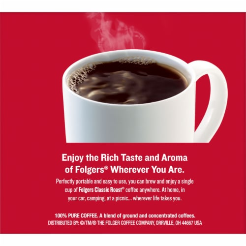 Folgers Coffee Singles Classic Roast Medium Ground Coffee Perspective: right
