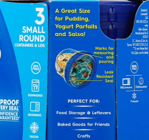 Ziploc Twist n Loc  Round Storage Pint Containers & Lids - Clear/Blue Perspective: right