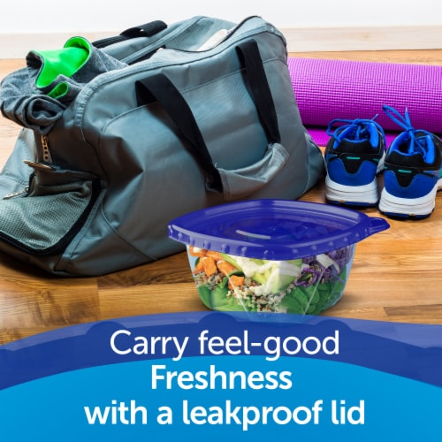 Ziploc One Press Seal Small Square Storage Containers & Lids - Clear/Blue Perspective: right