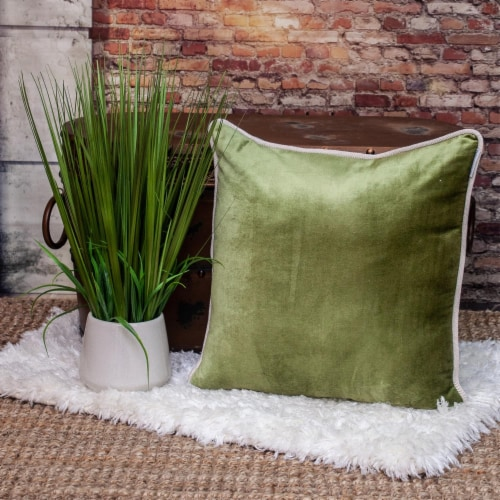 Parkland Collection Maia Transitional Olive Throw Pillow Perspective: right