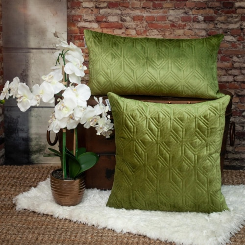 Parkland Collection Aleta Transitional Olive Throw Pillow Perspective: right