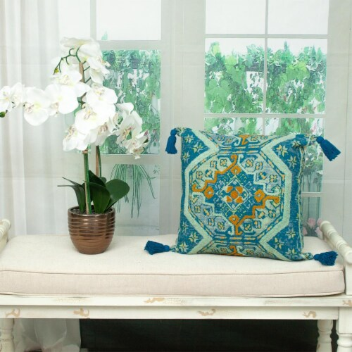 Parkland Collection Lotus Transitional Teal Throw Pillow Perspective: right