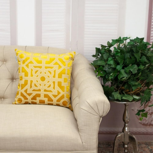 Parkland Collection Hazel Transitional Mustard Yellow Throw Pillow Perspective: right