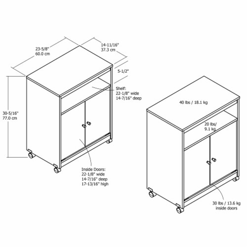 Landry Microwave Cart, White Perspective: right
