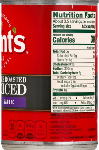 Hunt's Fire Roasted Garlic Diced Tomatoes Perspective: right