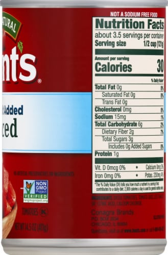 Hunt's No Salt Added Diced Tomatoes Perspective: right