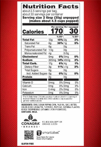 Orville Redenbacher's Butter Popcorn Bags 12 Count Perspective: right
