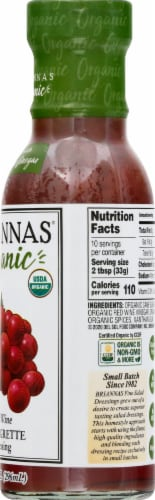 Briannas Organic Red Wine Vinaigrette Dressing Perspective: right