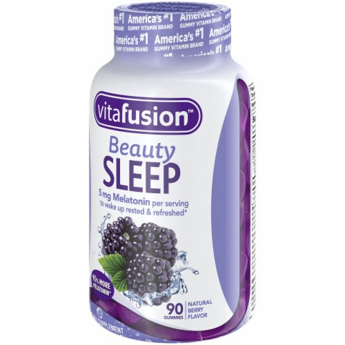 Vitafusion Beauty Sleep Natural Berry Flavor Melatonin Supplement Gummies 90 Count Perspective: right