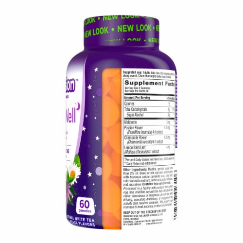 Vitafusion Sleep Well Sugar Free White Tea with Passion Fruit Gummies Perspective: right