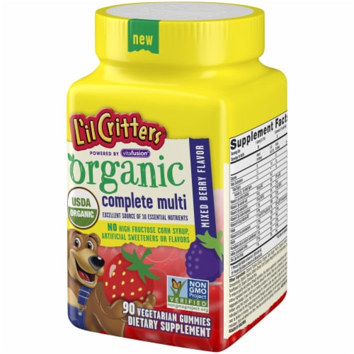 L'il Critters Organic Mixed Berry Flavor Complete Multi Gummies 90 Count Perspective: right