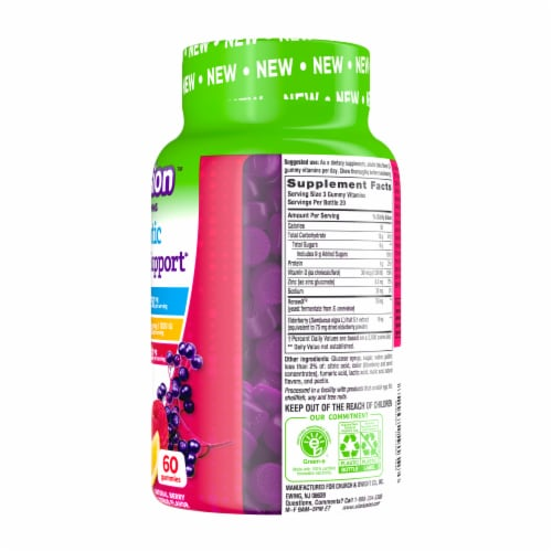 Vitafusion Natural Lemon and Berry Flavors Prebiotic Immune Support Gummies Perspective: right