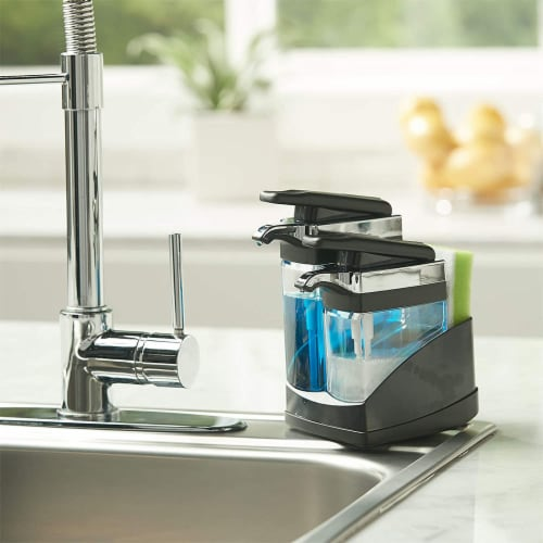 Casabella Chrome Plated Hand Pump Sink Sider Duo with Sponge Compartment, Black Perspective: right
