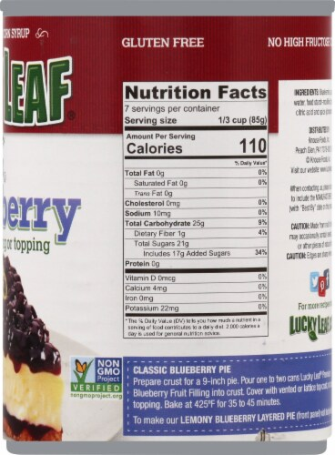 Lucky Leaf Premium Blueberry Fruit Filling & Topping Perspective: right