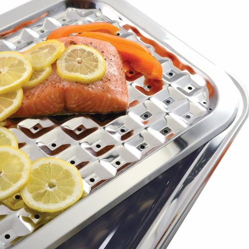 Norpro 2 Piece Stainless Steel Rectangular Oven Roasting Broil Pan and Drip Tray Perspective: right