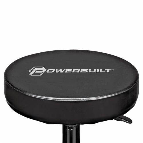 Powerbuilt Pneumatic Adjustable Height Roller Padded Stool Seat w/ Tool Tray Perspective: right