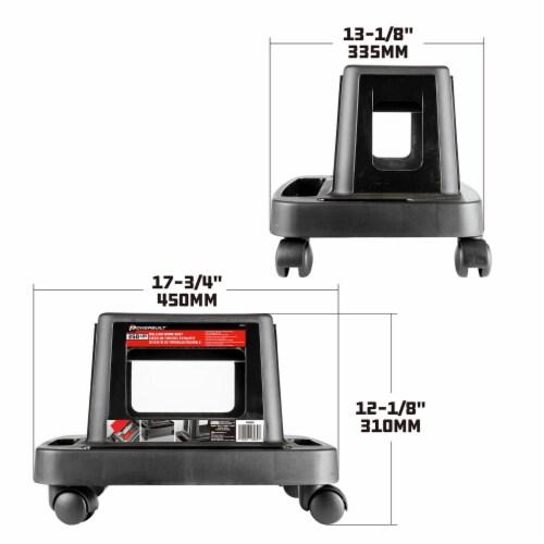 Powerbuilt Compact Plastic Rolling Mechanic Swivel Seat Brake Stool w/ Storage Perspective: right
