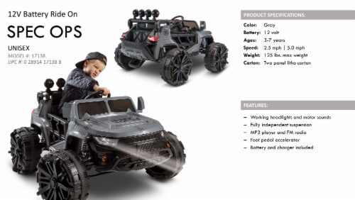 Huffy Special Ops Ride-On Monster Truck - Gray Perspective: right