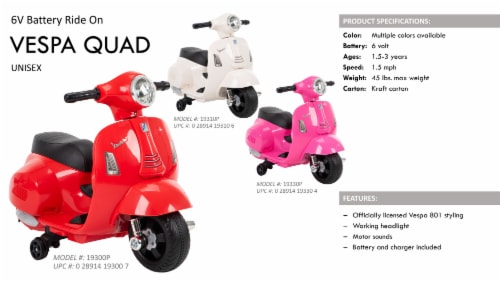 Huffy 6V Mini Scooter - Red Perspective: right