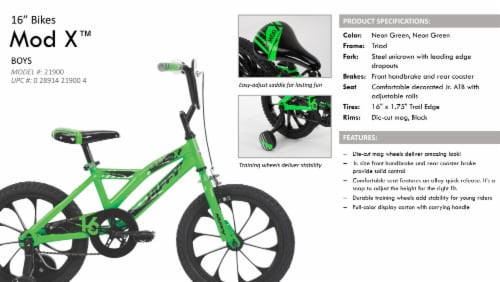 Huffy Mod X Boys Bike - Neon Green Perspective: right