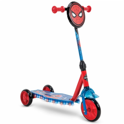 Huffy Electrolight Spider-Man 3 Wheel Scooter - Red/Blue Perspective: right