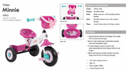 Huffy Minnie Mouse Tricycle - White/Pink Perspective: right