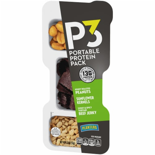 Planters P3 Honey Roasted Peanuts Sunflower Kernels & Teriyaki Beef Jerky Portable Protein Pack Perspective: right