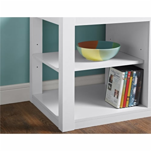 Ameriwood Home Parsons Fireplace TV Stand in White Perspective: right