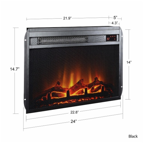 Ameriwood Home 23  x 14  Electric Fireplace Insert with Mesh Front, Black Perspective: right