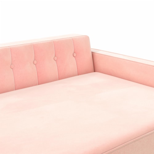 Ollie & Hutch Pin Tufted Pet Sofa, Large Size, Pink Velvet Perspective: right