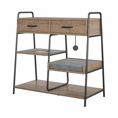 O'Malley Accent Table with Cat Bed, Rustic Oak Perspective: right