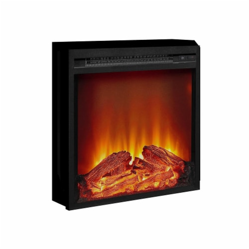 Ameriwood Home 18  x 18  Glass Front Electric Fireplace Insert, Black Perspective: right