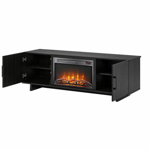 Southlander TV Stand with Fireplace for TVs up to 60 , Black Oak Perspective: right