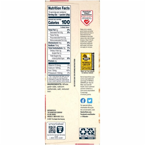 Quaker Original Instant Oatmeal Packets Perspective: right