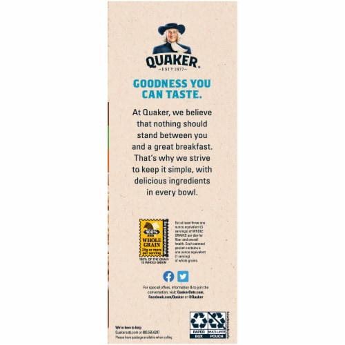 Quaker Breakfast Cereal Lower Sugar Instant Oatmeal Variety Pack Perspective: right