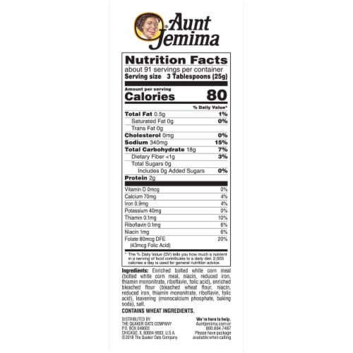 Aunt Jemima White Corn Meal Flour For Baking Perspective: right