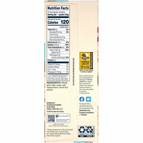 Quaker Breakfast Cereal Lower Sugar Maple and Brown Sugar Instant Oatmeal 10 Count Perspective: right