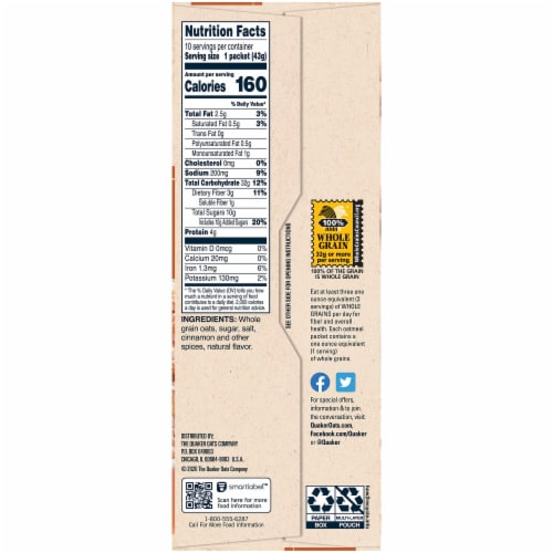 Quaker Instant Oatmeal Breakfast Cereal Cinnamon & Spice 10 Count Perspective: right