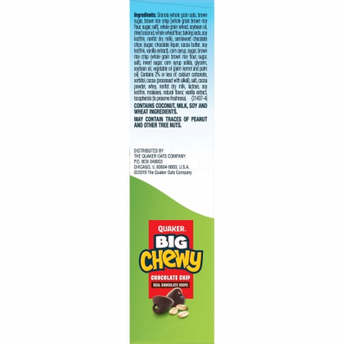 Quaker Big Chewy Granola Bars 60% Larger Chocolate Chip Snack Chewy Bars Perspective: right