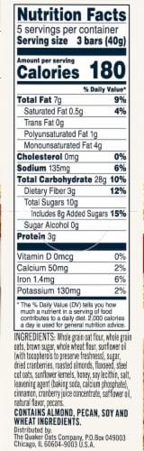 Quaker Breakfast Flats Cranberry Almond Crispy Snack Bars Perspective: right