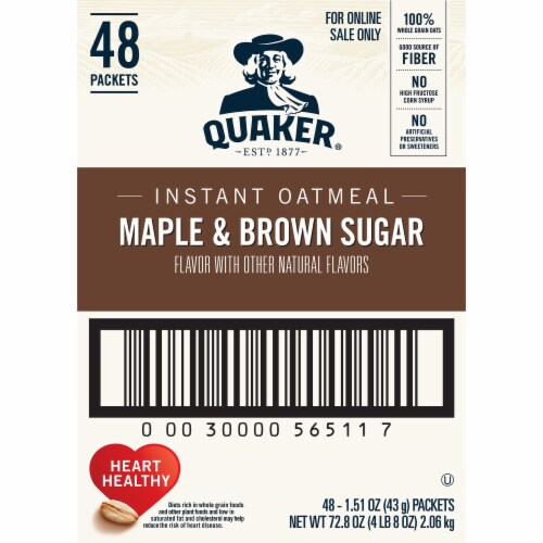 Quaker Instant Maple & Brown Sugar Oatmeal Packets 48 Count Perspective: right