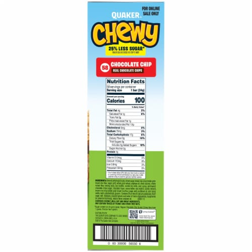 Quaker Chewy Reduced Sugar Chocolate Chip Granola Bars Perspective: right
