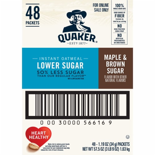 Quaker Lower Sugar Maple & Brown Sugar Instant Oatmeal Packets Perspective: right