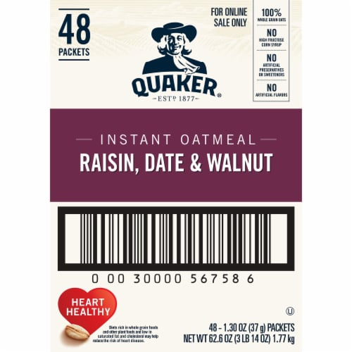 Quaker Raisin Date & Walnut Instant Oatmeal Packets Perspective: right