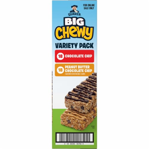 Quaker Big Chewy Chocolate Chip & Peanut Butter Granola Bars Variety Pack Perspective: right