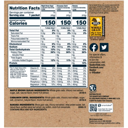 Quaker Select Starts High Fiber Instant Oatmeal Variety Pack 32 Count Perspective: right